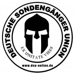 Aufkleber 02 - Deutsche Sondengänger Union (weiß)